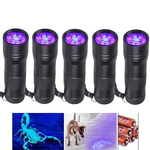 Beinhome UV Taschenlampe Schwarzlicht [5 Stück], UV Lampe, Haustiere Urin-Detektor für Eingetrocknete...