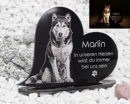 CHRISCK design Gedenkstandbild Gedenktafel mit Gravur Fotogravur Grabstein Tiere Herz stehend in 2...