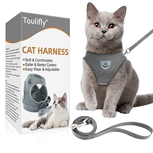Katzengeschirr,Katzengeschirr Ausbruchsicher,Cat Harness,Katzengarnitur,Verstellbare Geschirr für kleine...