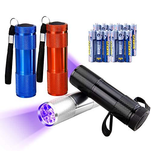 JTENG UV Schwarzlicht 4 Pack 4 Farben Taschenlampe Haustiere Urin-Detektor für eingetrocknete Flecken...