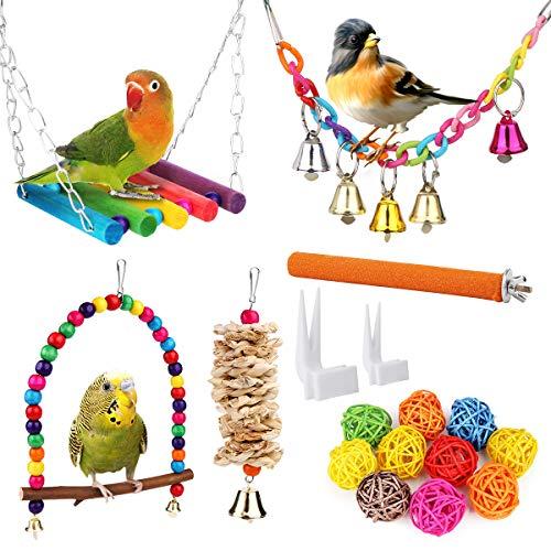 Vegena Vogelspielzeug, 17er Set Vögel Holzleiter Spielzeug mit Landeplatz Vogelkäfig Zubehör für...