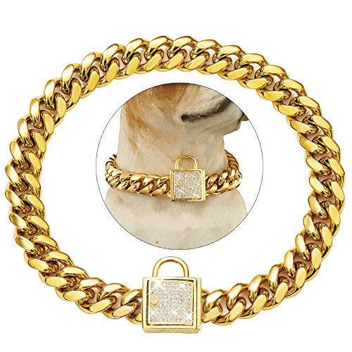 Tobetrendy Cuban Link Hundehalsband, goldfarben, mit Zirkonia-Verschluss, 14 mm, 14 mm, 30,5 cm