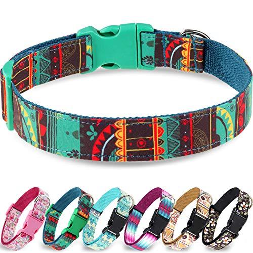 Taglory Verstellbares Hundehalsband,Weich & Komfort Hunde Halsband für Kleine Hunde,Grüne Maya