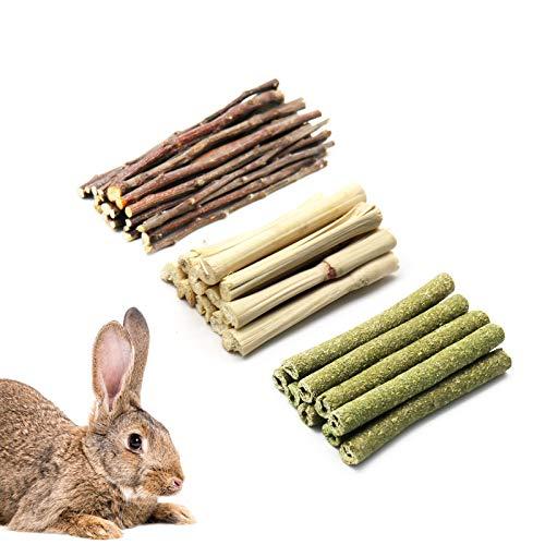 Bunny-Kaustock, 3 Arten von Kaninchen-Kauspielzeug mit 100% natürlichem Apfelstab, Timothy-Stab und...