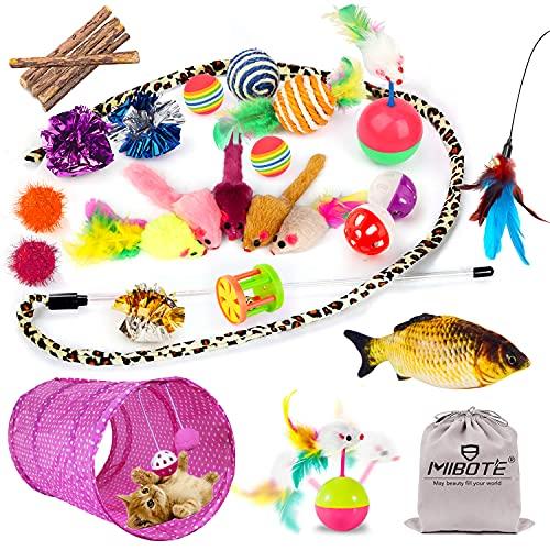MIBOTE 30 Stück Katzen Spielzeug Katzenspielzeug Set mit Katzentunnel Jingle Bell, Katzenminze, Fisch,...
