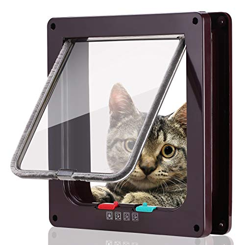 Smilelove Katzenklappe Hundeklappe 4 Wege Magnet-Verschluss für Katzen, große Hunde 19 * 20 * 5,5cm...