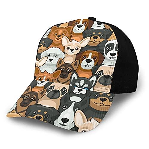 ZORIN Baseballkappe für Männer und Frauen, niedlicher Hund, Mops, Husky, Schäferhund, Teddy, schwarz,...