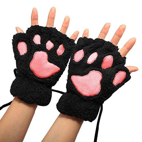 MAKFORT Fingerlose Handschuhe Winter Katze Plüsch Handschuh Schwarz
