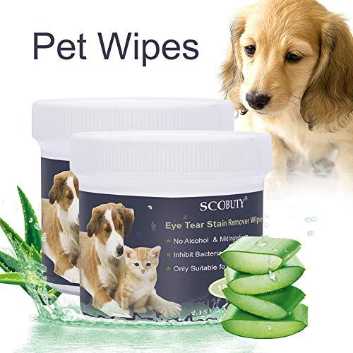 SCOBUTY Augen-Reinigungspads, Haustier-Augen-Tücher, Milde Augen-Reinigung ohne zu Reizen, Entfernt...