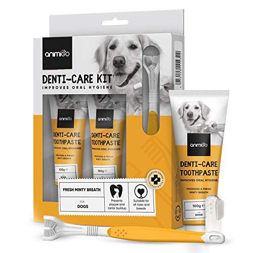 Animigo Denti-Care Zahnpasta für Hunde - 2x 100g Hunde Zahncreme mit Zahnbürste & Fingerzahnbürste