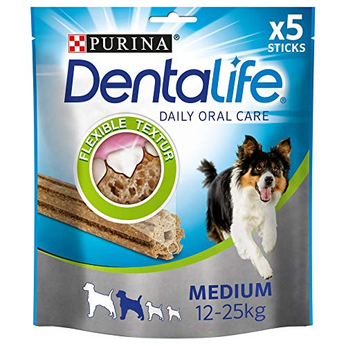 PURINA DENTALIFE Medium Hunde-Zahnpflege-Snacks reduziert Zahnsteinbildung, Huhn, mittelgroße Hunde, 5er...