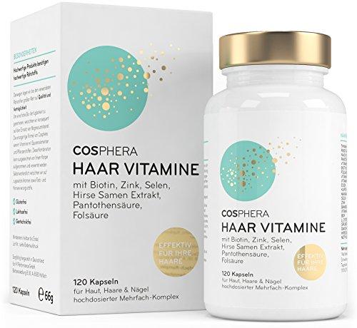 Cosphera Haar-Vitamine - Hochdosiert mit Biotin, Selen, Zink, Folsäure, Hirse Samen Extrakt - 120 vegane...