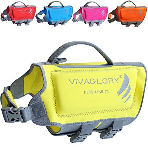 VIVAGLORY Schwimmweste Hunde aus Neopren mit starkem Auftrieb und Rettungsgriff, Gelb, Größe M