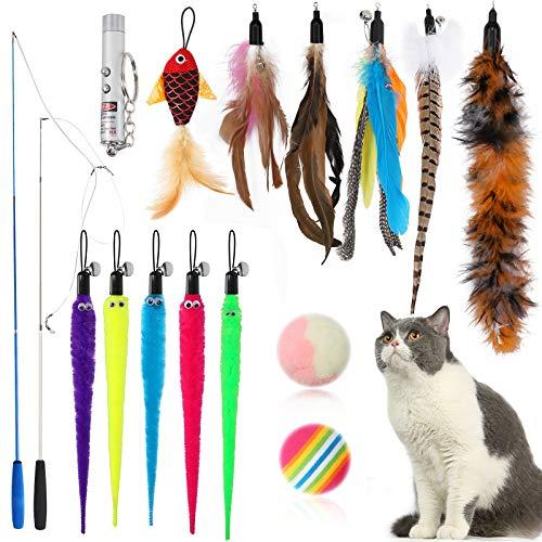 MLIAIMCE Katzenspielzeug,16 Stück Feder Teaser Spielzeug Natürliche Interaktives Katzen Spielzeug Mit 2...