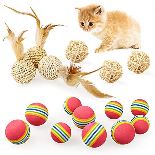 16 Stück Katzenbälle, Interaktives Katzenspielzeug Ball aus natürlichem Material und weichem...
