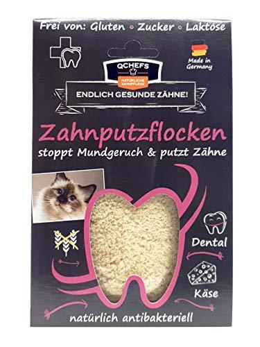 Qchefs Katzen Zahnputzflocken| Zahnpflege- Snack| Zahnsteinentferner| Zahnpulver gegen Mundgeruch &...