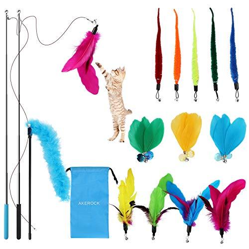 Katzenspielzeug Katze Toys, interaktives Katzen Spielzeug mit Federn, 12 Stück Katzenangel Ersatz mit...