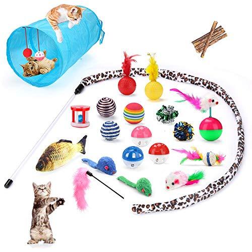 SANBLOGAN Spielzeug Katze mit Katzentunnel, Katzenspielzeug Set 25pcs,Katzenspielzeug...