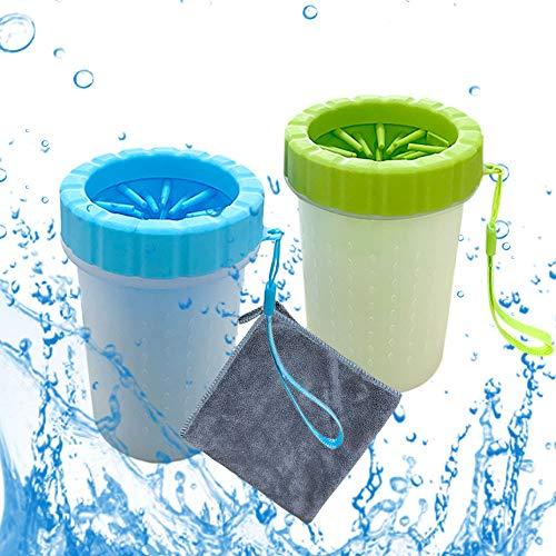 2 Stück Pfotenreiniger Für Hunde,Hundepfoten Reiniger mit Microfaser Handtuch für Hunde Katzen Massage...