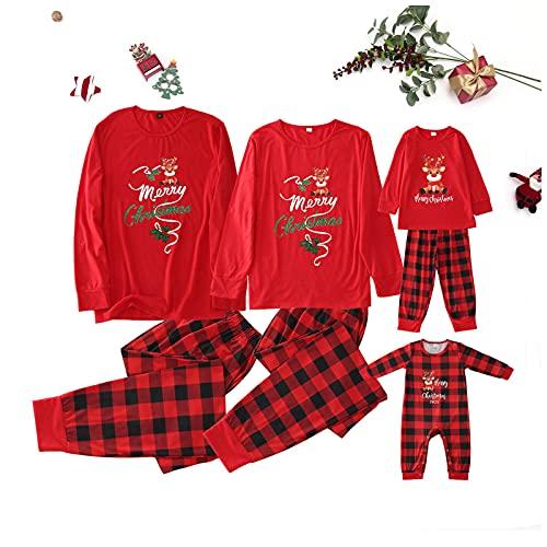 Zilosconcy Weihnachtspyjama Familie Set Baumwolle Chrismas Feiertag Hirsch Weihnachtsanzug Drucken...