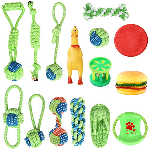 Hundespielzeug 15 Stück Hundeseile interaktives Spielzeug mit geflochtem Ball aus Baumwolle...