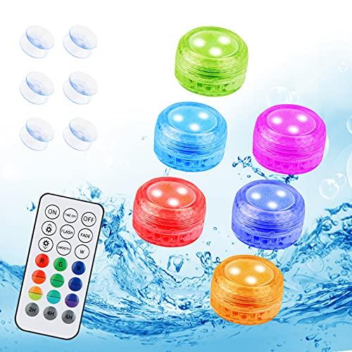 Zorara Unterwasser Licht, 6 Stück Mini LED Poolbeleuchtung mit RF Fernbedienung, Unterwasserlicht RGB 16...
