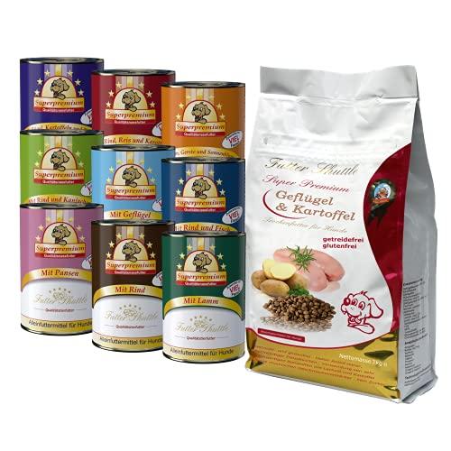 Getreidefreies Hundefutter Trocken mit Geflügel 3kg und 18 x 400g Hunde Nassfutter in Dosen als...