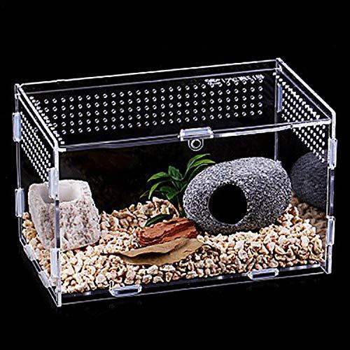 Urtone Reptil Fütterungsbox, Transparent Acryl Reptilienzuchtbox, Zuchtfall für Spide, Skorpion,...