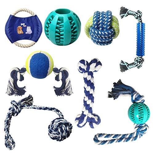 8 Stück Hundespielzeug Kauspielzeug, Zahnbürsten-Stick für Langeweile, langlebige Gummi Spaß...