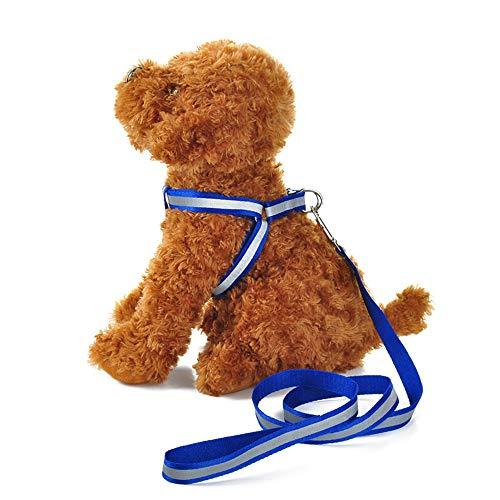 Verstellbares Hundegeschirr aus Nylon mit reflektierenden Streifen, Leine mit Gürtel, für Hunde...