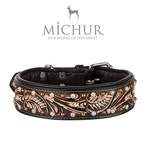 MICHUR Joris Hundehalsband Leder, Lederhalsband Hund, Halsband, Leder, Schwarz Braun mit Rundnieten und...