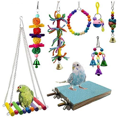 Bird Toys Hängende Schaukel Zerkleinern Kauen Barsche Papagei Spielzeug für Käfig Conures Sittiche...