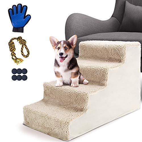 MASTERTOP Haustiertreppen-4-Step Hundetreppe für Katzen und Hunde, die auf EIN hohes Bett und eine Couch...