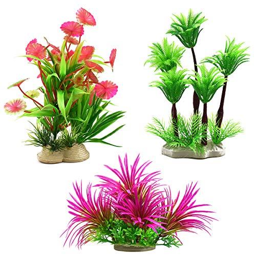 Dokpav 3 Stück Aquarium Pflanzen 6 * 16 cm Künstliche Wasserpflanzen Plastik Aquariumpflanzen...