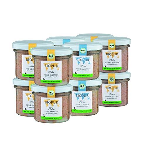 BIOPUR Bio Gemischtes Hundefutter 12x100g [Premium Nassfutter] - 100% Bio Qualität - Hundenassfutter »...