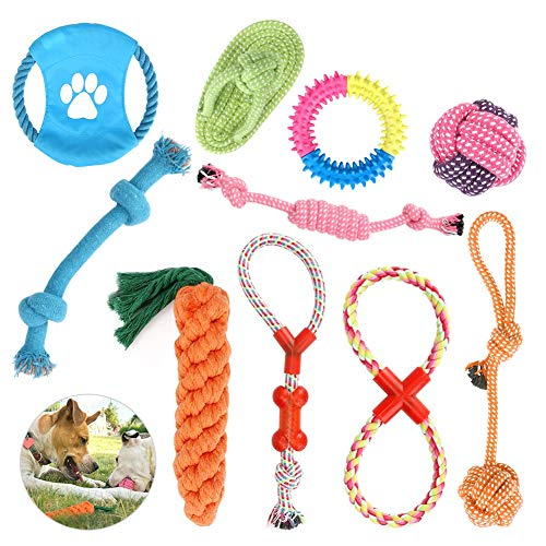 CestMall Hundespielzeug 10pcs Kauspielzeug Interaktives Spielzeug Set Intelligenz Hundeseile Spielset...