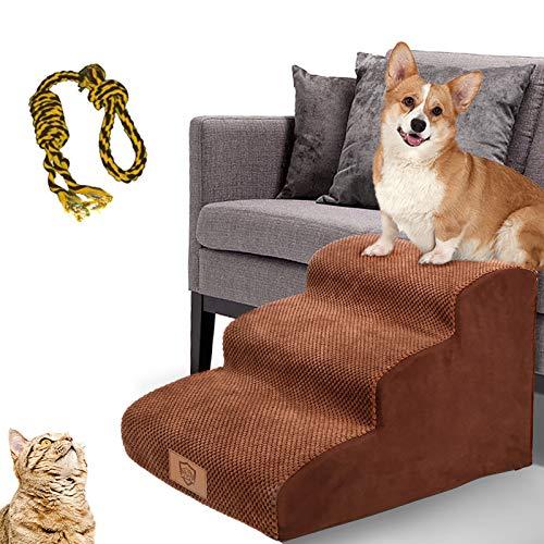 MASTERTOP Haustiertreppe für Hunde und Katzen mit, 3 Stufen Hundetreppe für Hunde und Katzen für hohe...