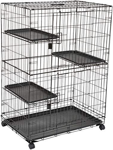 AmazonBasics – Großer Katzenkäfig mit 3 Ebenen, 91 x 57 x 128,5 cm, Schwarz