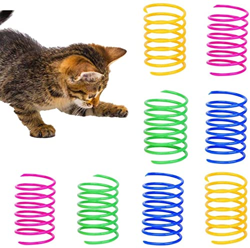 Licipe Katzenfeder, 72 Stück Cat Spring Spielzeug Bunte Spirale Katzen Spielzeug Kunststoff Spiralfedern...