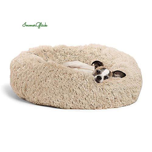 ImmerGlück® Kuscheliges Hundebett Katzenbett Luxury Haustierbett flauschig rund waschbar orthopädisch...