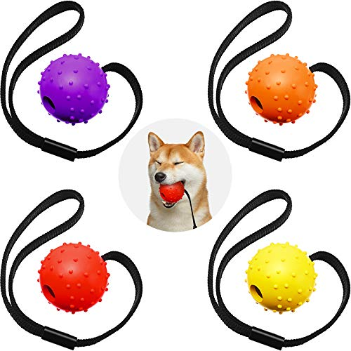 4 Stücke Hunde Ball auf Seil Interaktiver Hunde Training Ball Hunde Spielzeug Ball auf Seil Belohnung...