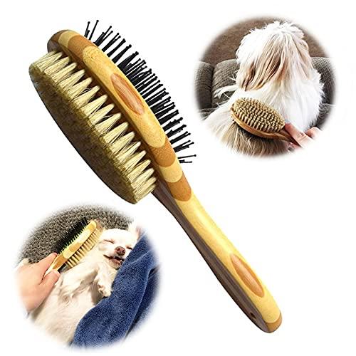 KTL Bambus Hundebürste, 2-in-1 Hundebürste und Borsten, für Verfilzungen, Knoten & Unterfell -...