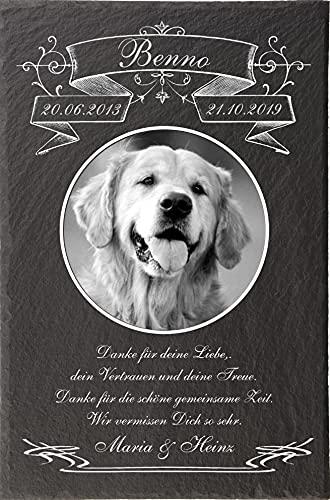 Pokal Center Westerheider Tiergrabstein mit Bild und Text, Gedenktafel mit personalisierter Gravur für...
