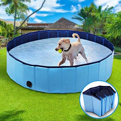 Winipet Hundepool Schwimmbad für Hunde, Hundeplanschbecken Hundebad, 120*30 cm Klappbares...