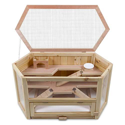 bonsport XXL Kleintierkäfig Hamsterkäfig aus Holz - Meerschweinchen Käfig, 80 x 40 x 43 cm