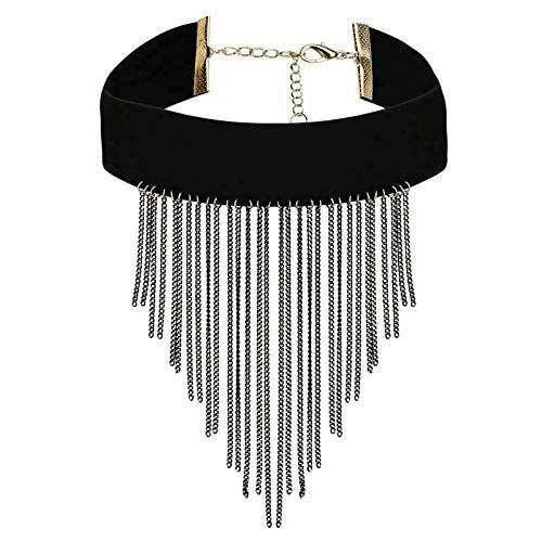HIUYOO Halskette Damen Legierung Halsbänder Damen Langkettige Vintage Quaste Schwarz