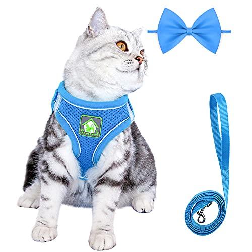 Katzengeschirr und Leine zum Spazierengehen, ausbruchsicher, verstellbar, Kätzchengeschirr, kein Ziehen,...
