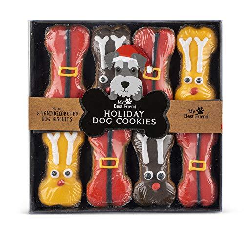 Modern Gourmet Foods - Hundekekse Geschenkset mit 8 Hundeleckerlies, von Hand dekoriert - Weihnachten