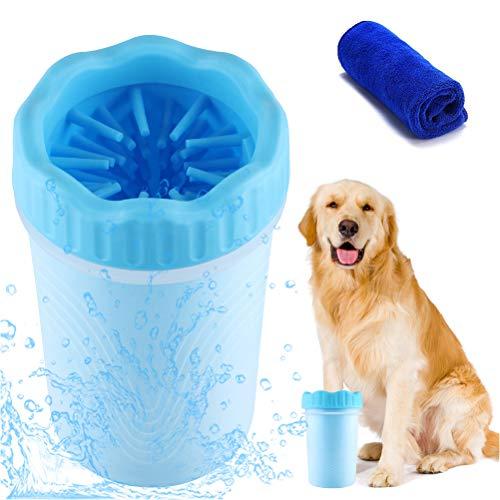 VZATT Hundepfoten Reiniger, Haustier Pfotenreiniger mit Handtuch, Hunde Fuß Waschen Tasse, Haustiere...