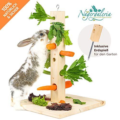 Nagergaleria Futterbaum mit Bodenplatte aus Holz und Erdspieß fürs Freigehege für Kaninchen u....